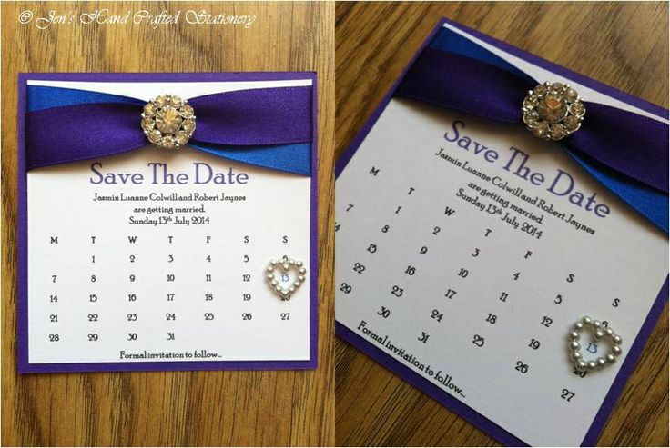 Cadburys purple and royal blue Wedding Save The Date  www.jenshandcraftedstationery.co.uk www.facebook.com/jenshandcraftedstationery