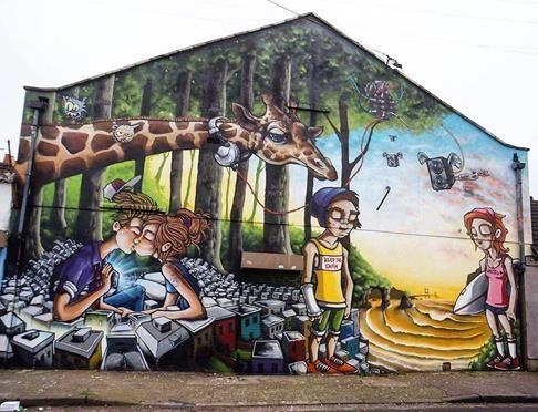 Silent Hobo in Easton, Bristol, UK, 2017