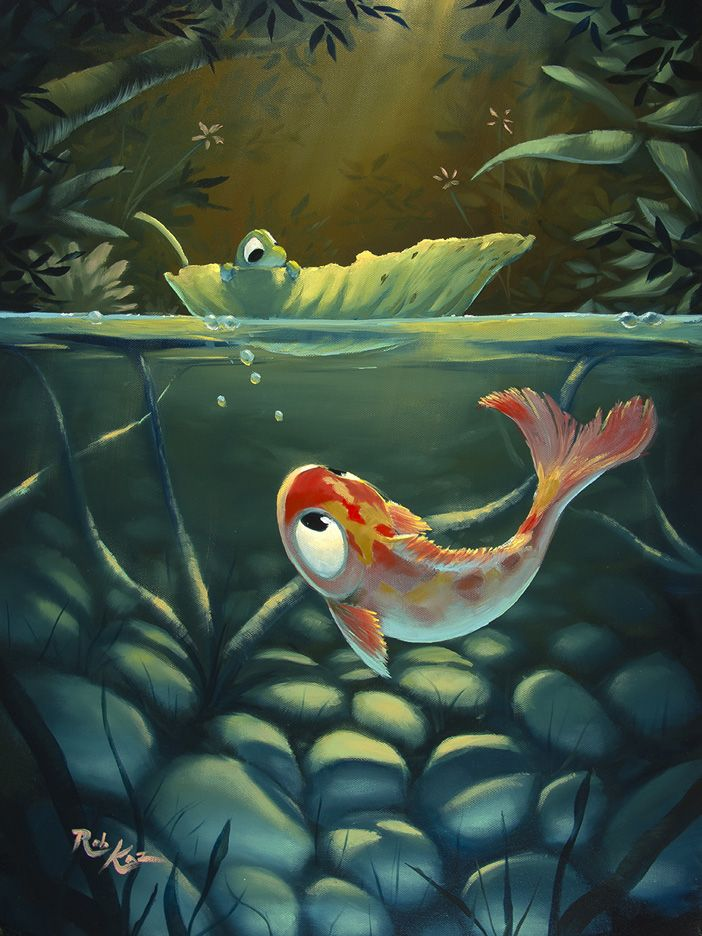 Rob kaz art here 39 s lookin at you 24x18 friends along for Paragon fish oil