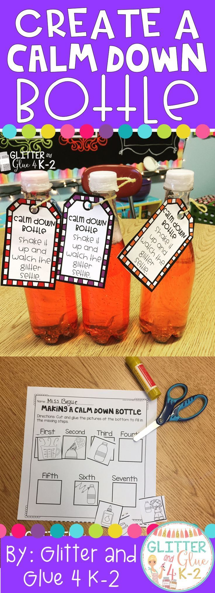This is so much fun to make your students won't even realize they're learning! Create a calm down bottle with your students and learn about the importance of sequencing! This is a great lesson that incorporates calming strategies, sequencing, following di
