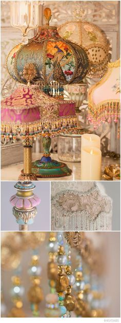 Group of beautiful Victorian lampshades from Nightshades designer Christine Kilger that feature exquisite hand-beaded shades, period lamp bases and rare antique fabrics and embellishments circa 1860-1930. These lamps are hand made with luxurious antique fabrics, vintage materials, shimmering beads and light that create one-of-a-kind lighting that brings a romantic, bohemian elegance to any room. Her clients include Nordstrom, Stevie Nicks, Sue Wong, Carly Simon and Courtney Love.