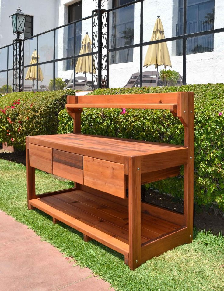 Eliu0027s Potting Bench (Options: XXL Size, Old Growth Redwood, No Casters