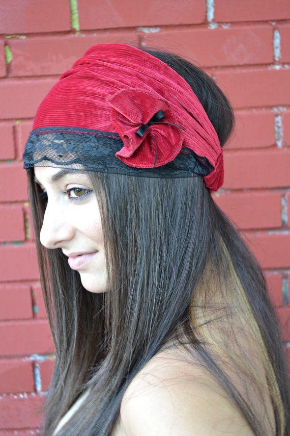 Red Headband with Black Lace / Beutiful Bandana  by HeavensShop, €14.50