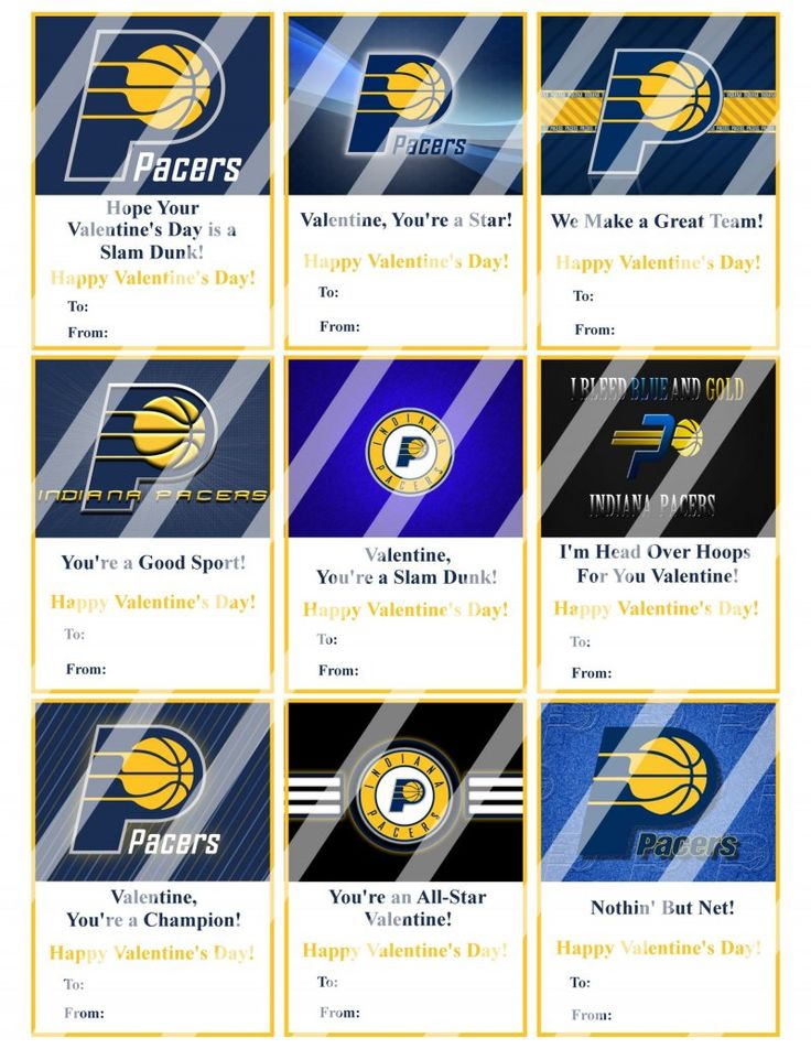 Indiana Pacers Valentines Day Cards Sheet #2 (instant download, printed)