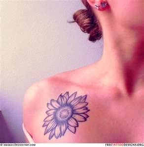 """Reason why I want this Tattoo: Sunflowers are known to be the """"happiest of flowers"""", and their meanings include loyalty and longevity.  Where I would get it: My foot or under my collar bone."""