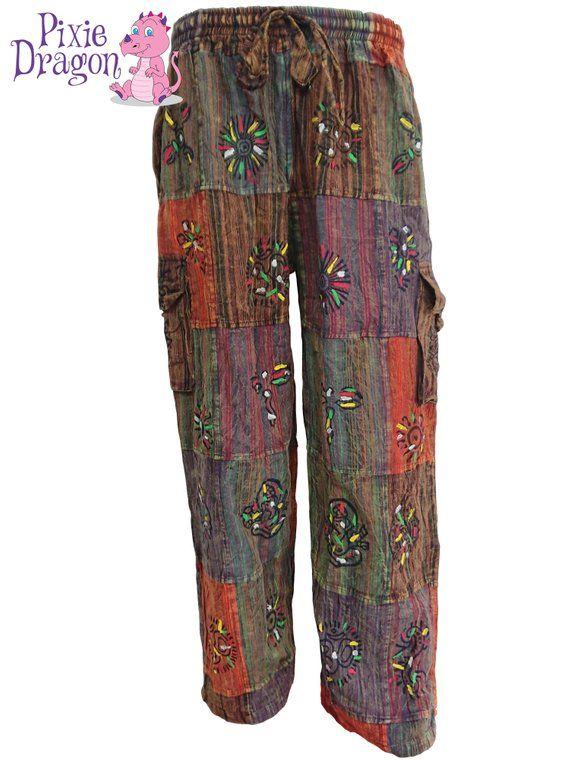 Tie Dye Yoga Pants Hippy Pixie Boho Leggings Fairtrade Leggings Clothes, Shoes & Accessories