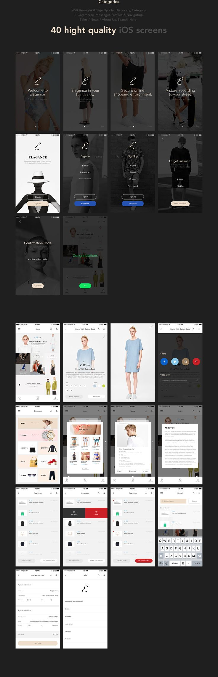 Elegance iOS UI Kit on Behance