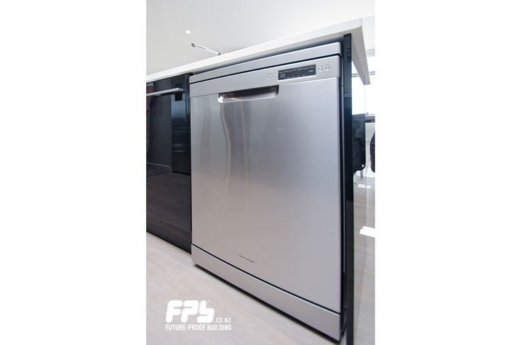 Kitchen featuring stainless steel dishwasher from Fisher & Paykel.