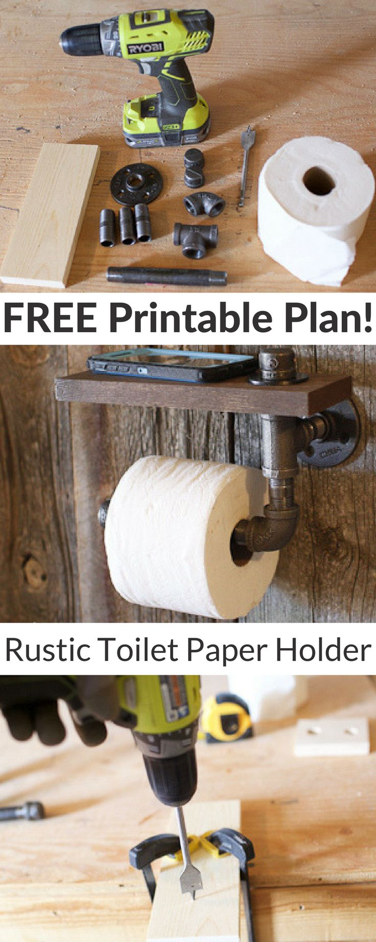 This super simple and essential DIY will look great in your bathroom! It even has a shelf for your cell phone! Download the free plans for this Rustic Toilet Paper Holder on buildsomething.com
