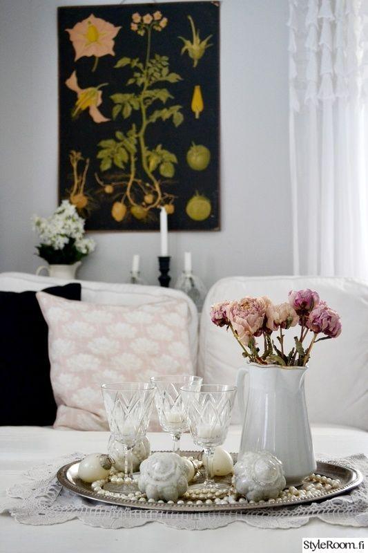 Olohuone on meidän kodin ehdoton lempparipaikka. Vanhat rakkaat huonekalut ja uudet mukavat sohvat.. Rakastan vintagea huokuvia Lumme-tapetteja ja röyhelöverhoja. . . . . . Kevättä olohuoneessa