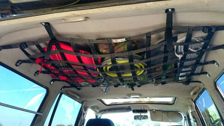 Land Cruiser 80 Ceiling Storage Nets. Custom made for any Vehicle make/model by BLUNT FORCE PRODUCTS from  ROCK N ROAD 4X4 LTD. info@rocknroad4x4.com www.rocknroad4x4.com See us on FaceBook.