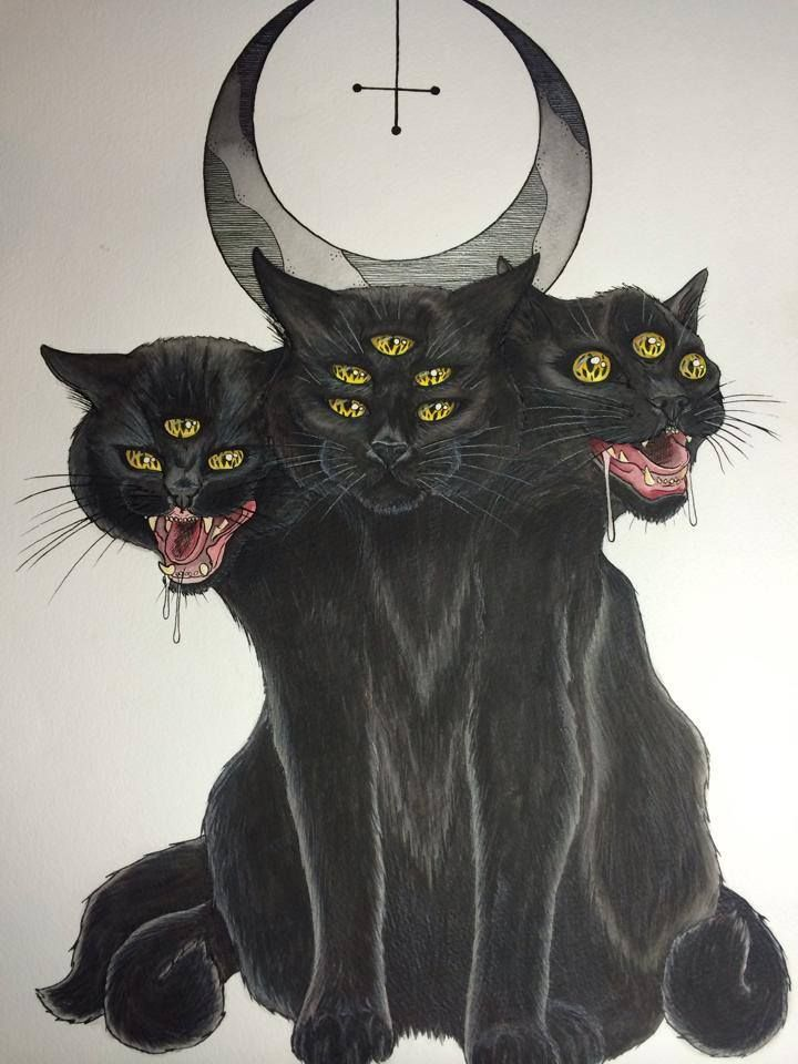 If I were to get this as a tattoo i would have the miiddle head have just 2 eyes and then the one on the right would have all those eyes. By the amazingly talented Tea. Check her out at http://www.teacakeart.com
