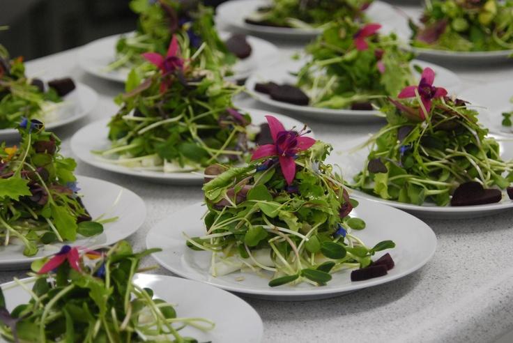 Salad topped with a fuchsia flower - Fuchsia Epicerie Fleur