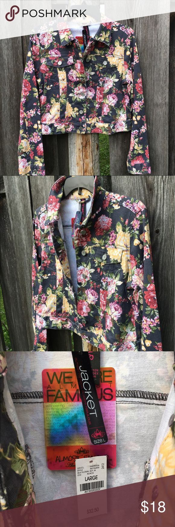 Almost Famous floral denim jacket NWT. Large Almost Famous. New with Tags. Floral denim jacket. Black with pink, yellow & green floral. Button down. Double breasted button pockets. Juniors Large or Women's Small/Medium. Bust 32-36inch, fitted, slightly cropped style. 98% Cotton, 2% Spandex. Almost Famous Jackets & Coats Jean Jackets