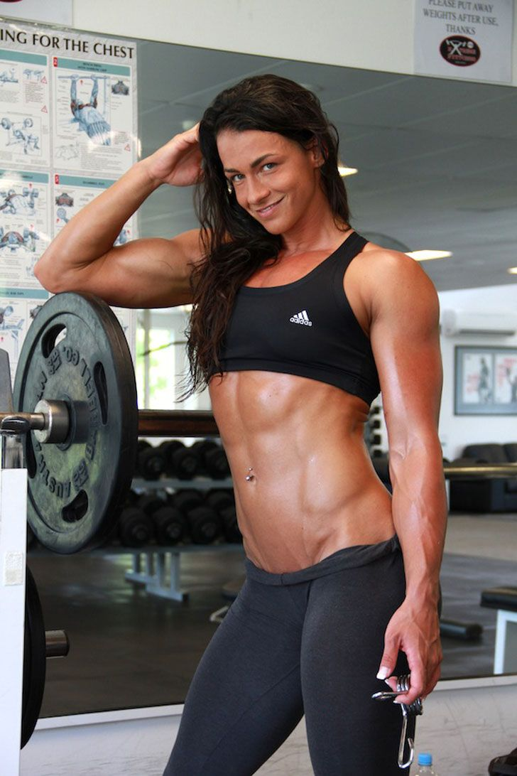 Personal Trainer Cindy Landolt Posing Her Great Abs