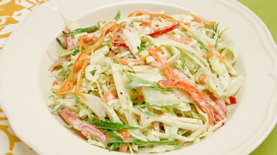 Creamy Coleslaw - Recipes - Best Recipes Ever - Fennel gives this coleslaw an added crunch with a hint of licorice flavour. If you have one, use a mandoline to slice the hard vegetables paper-thin.