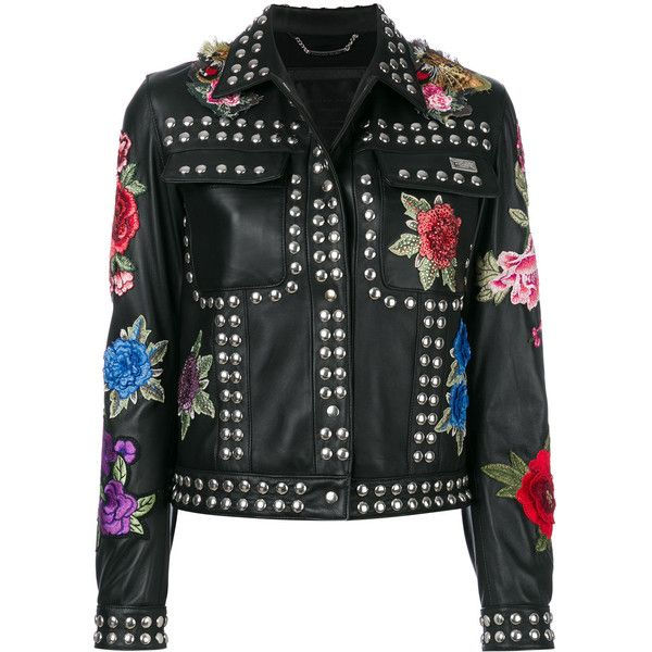 Philipp Plein studded rose patch jacket (6 975 BGN) ❤ liked on Polyvore featuring outerwear, jackets, black, floral print jacket, fitted leather jackets, leather jackets, studded leather jacket and real leather jackets