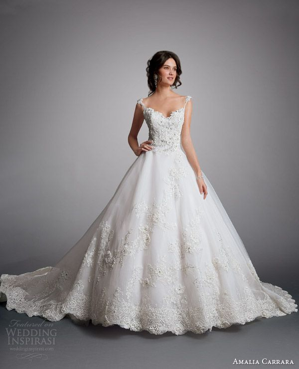 amalia carrara eve of milady 2014 ball gown with straps wedding dress style 329