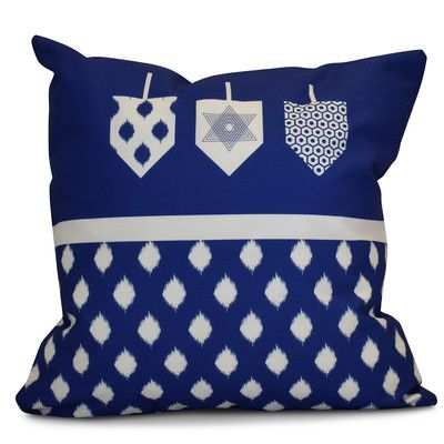 "The Holiday Aisle Hanukkah 2016 Decorative Holiday Geometric Outdoor Throw Pillow Color: Royal Blue, Size: 18"" H x 18"" W x 2"" D"