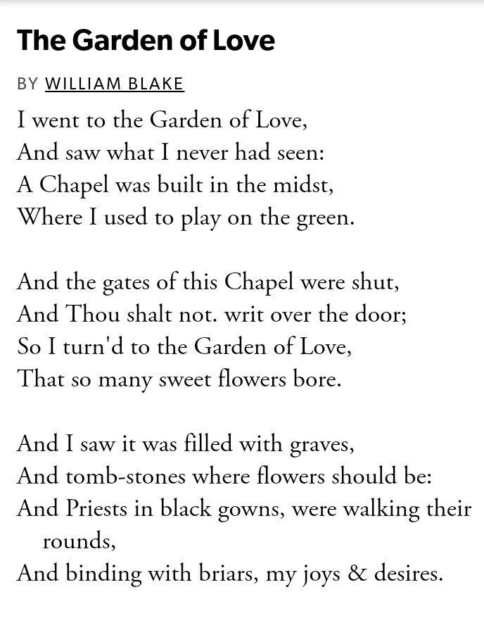 Poem The Garden Of Love By William Blake Romantic Poets Blake Poetry William Blake Poems