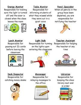 There are enough jobs for 25 students, 17 are different! Super cute clipart pictures and explainations for each job or leadership role as I like to call them!