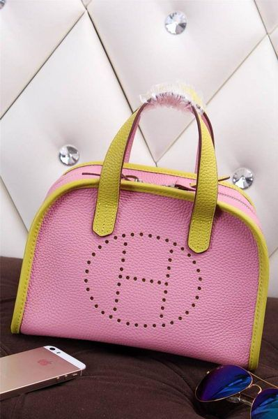 Hermes mini Boston Bag Grainy Leather H26 Pink