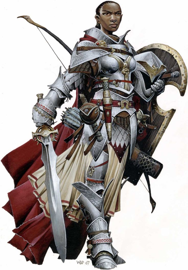 "Seelah by Wayne Renolyds. The paladin ""Iconic"" character for Pathfinder. Iconic characters in Pathfinder illustrate the hows and whys of class to players both new and old, along with having their own place in the setting.  Also, my personal 2nd favorite."