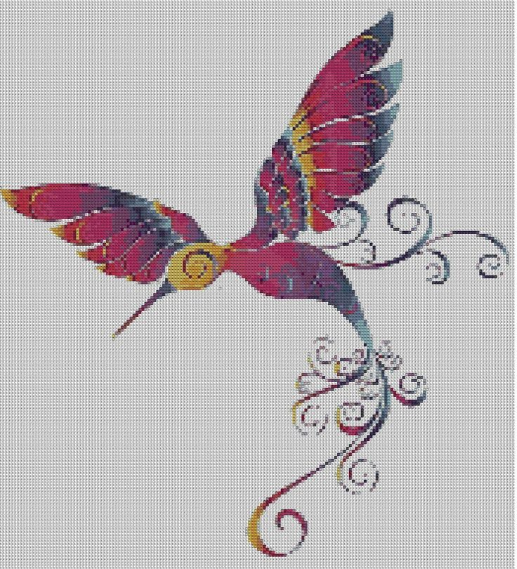 Grille de broderie point de croix animaux colibri aux mille couleurs point de croix - Grille point de croix pinterest ...