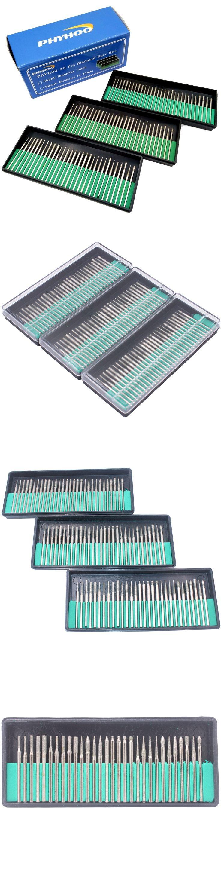 "1/8"" 90pcs Shank Diamond Burr Bits Set Drill Bit Kit for Glass Gemstone Metal Dremel Grinding Craftman Rotary Tool"