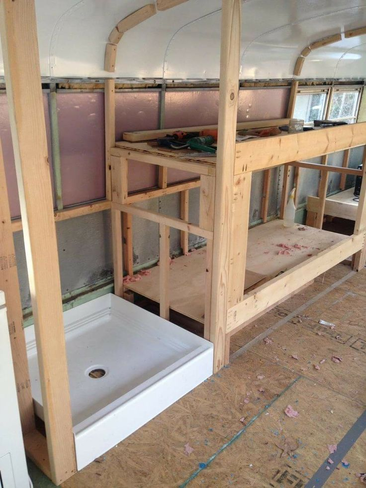 Framing the shower and bunk  Skoolie Build  Bus camper