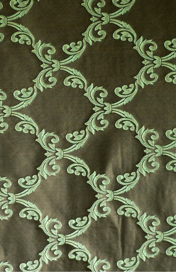 "Jacquard Green Brown Modern Castille Drapery Upholstery 57"" Wide Fabric Sold By The Yard"