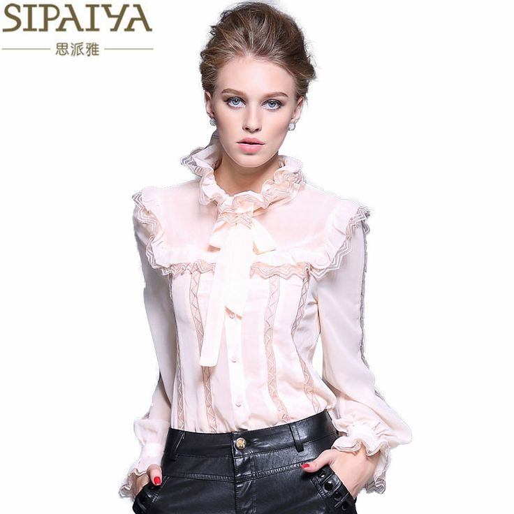 SIPAIYA Ladies Tops 2017 Spring Women Office Wear Silk Blouse New Fashion Ruffled Collar Hollow Out Crochet Blouse <3 This is an AliExpress affiliate pin.  Detailed information can be found on AliExpress website by clicking on the VISIT button