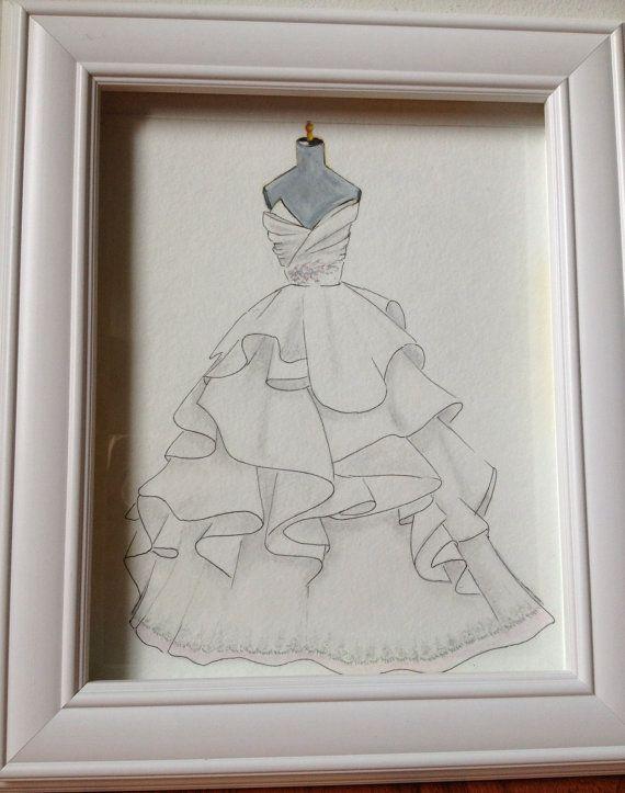 A great way to immortalise your wedding dress :) Custom wedding dress sketch wedding gown illustration by Zoia, $55.00
