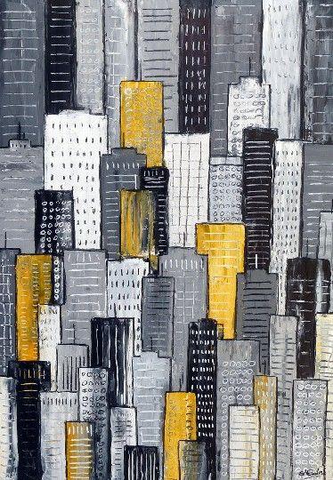 City in Yellow & Gray by Simon Fairless, Painting - Acrylic | Zatista