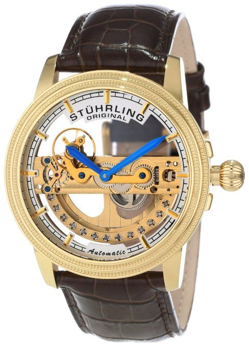 Watches. Stuhrling Original Men's 213A.333X30 Symphony Classic Limited Edition Saturnalia Bridge Automatic Skeleton Gold Tone Watch.