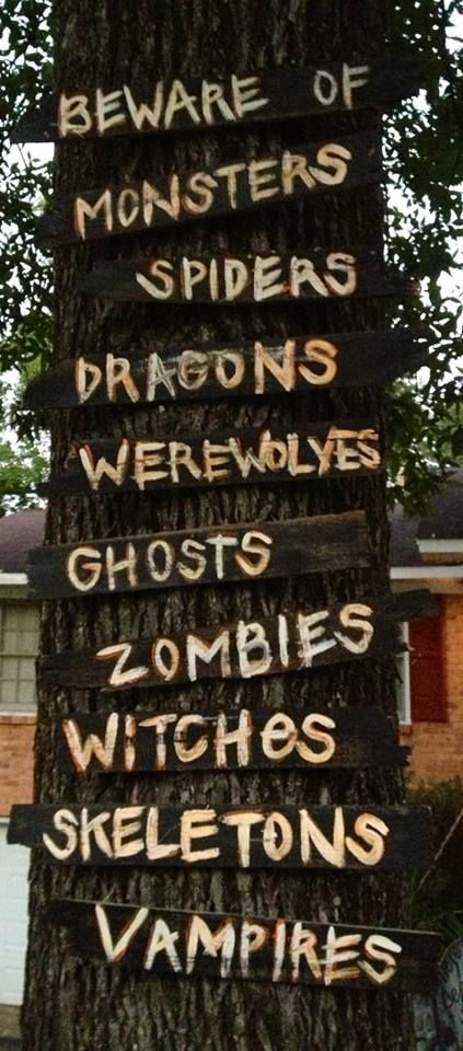 Love this DIY Halloween sign..I have plenty of trees I could do these on !