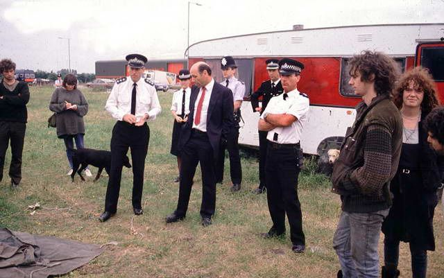 Site eviction at Southampton Road in Salisbury, circa 1987. It's a Tesco Superstore now