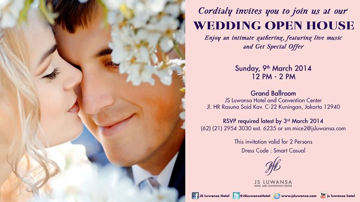 Joins Us in our Wedding Open House on Saturday, 9th March 2014 at JS Luwansa Grand Ballroom  RSVP required latest by 3rd March 2014
