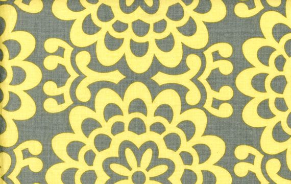 Amy Butler Lotus Yellow and Grey Fabric - play kitchen fabric inspiration