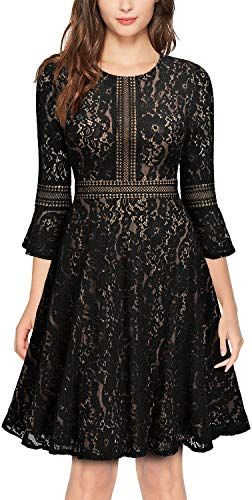 c33632569251 The perfect MISSMAY Women's Vintage Full Lace Contrast Flare Sleeve Big  Swing A-Line Dress Women dresses. [$41.99] topprofashion from top store