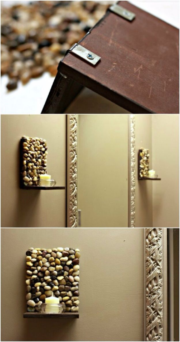 Pebble and Stone Crafts - DIY Stone Sconces - DIY Ideas Using Rocks, Stones and Pebble Art - Mosaics, Craft Projects, Home Decor, Furniture and DIY Gifts You Can Make On A Budget http://diyjoy.com/diy-pebble-stone-crafts