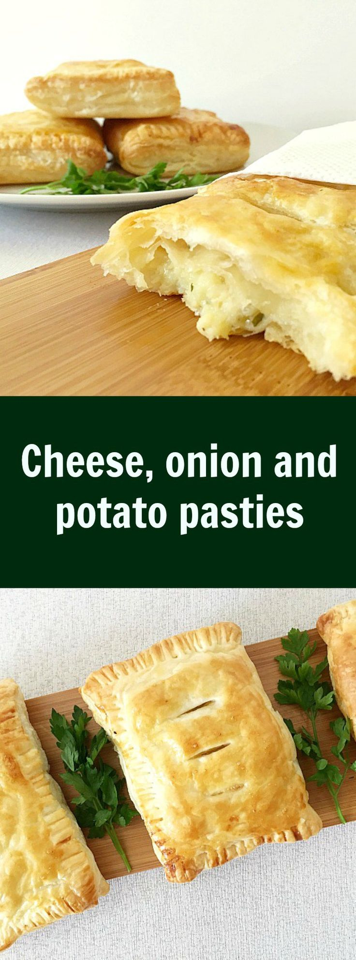 Cheese, onion and potato pasties make an ideal snack whenever you feel peckish. A very quick recipe that is so delicious.