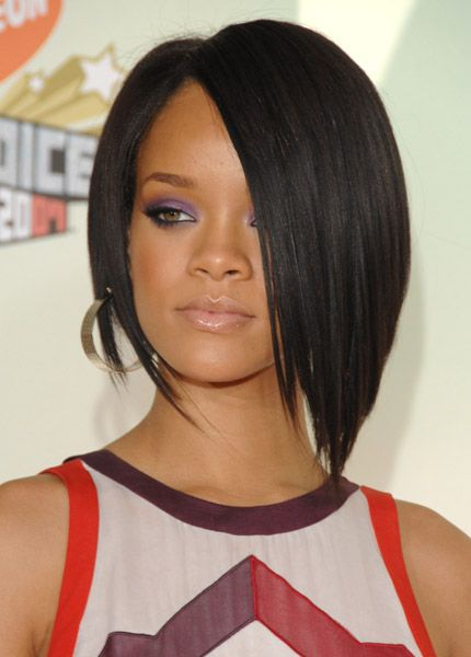 Rihanna with a gorgeous asymmetric black bob #rihanna #hair  #fashion. I wish I could pull this off..