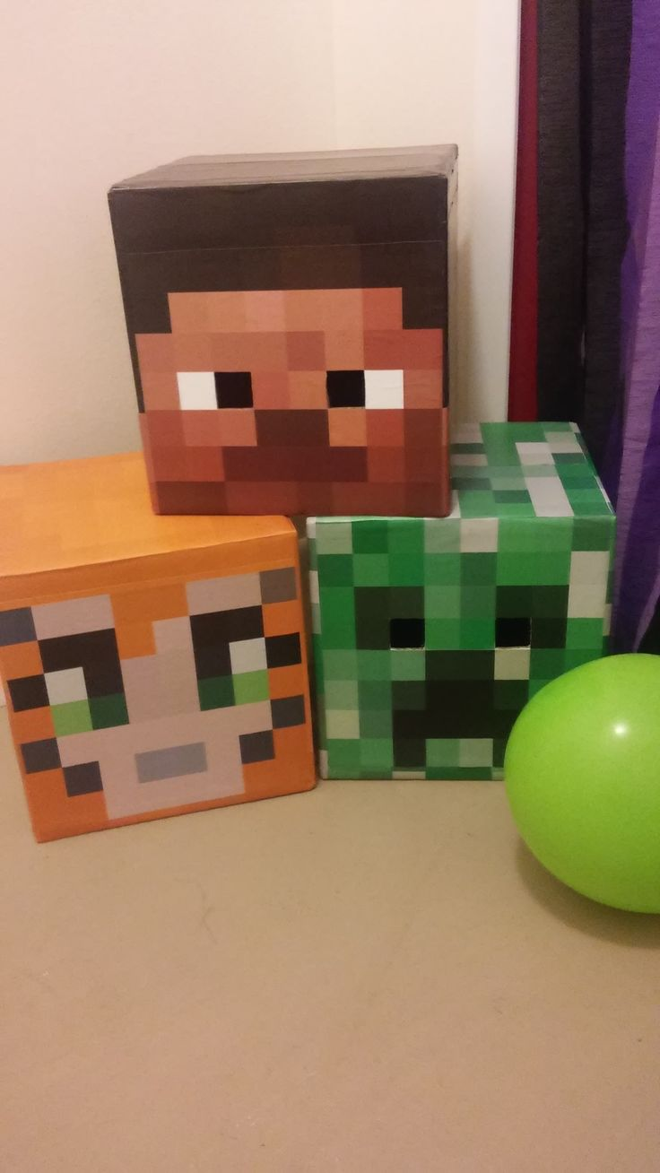 Emery's Minecraft Party DIY Character heads: Steve, Stampy Cat, Creeper