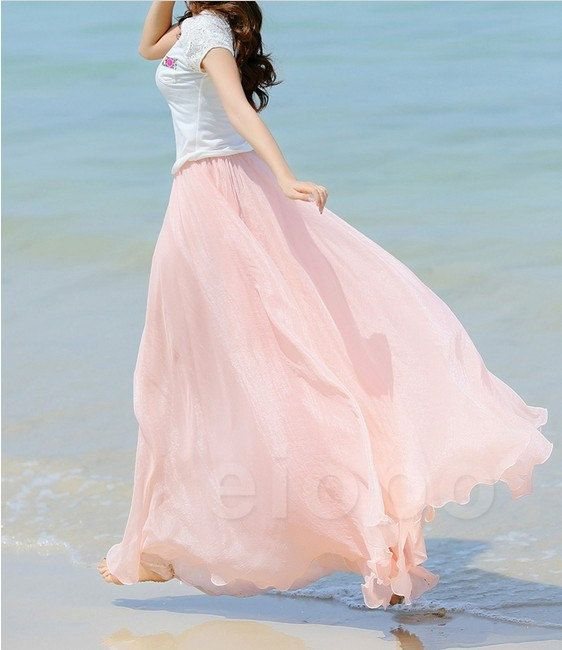Hey, I found this really awesome Etsy listing at http://www.etsy.com/listing/159967651/baby-pink-long-chiffon-skirt-maxi-skirt
