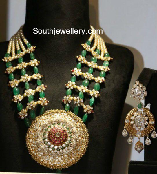 Emerald Beads and Polki Diamond Necklace photo