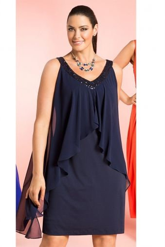 Plus Size Women's Fashion - Sara Layered Shift Dress - EziBuy Australia