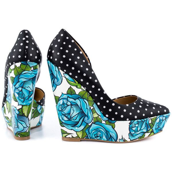 Taylor Says Women's Bonafide  - Black White (70 AUD) ❤ liked on Polyvore featuring shoes, pumps, taylor says, multicolor pumps, black and white pumps, platform wedge pumps, wedge shoes and black and white polka dot pumps