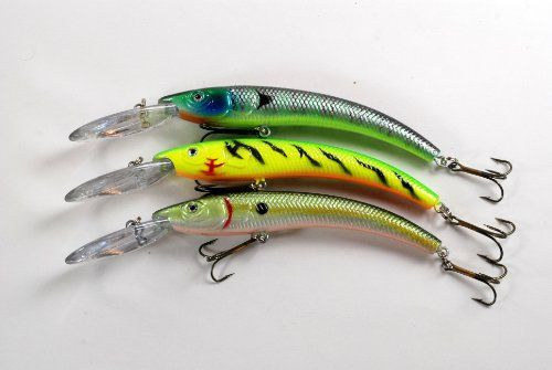 Lot of Three 5.9 Deep Diving Sigi Crankbait Fishing Lures for Northern Pike - Firetiger, Bluegill, Tennesee Shad Lips cause built-in action and easy casting. These lures have been custom designed by us at Sigi Fishing. Built-in rattles to attract fish. Detailed lure specs available on pictures.  #Akuna #Sports