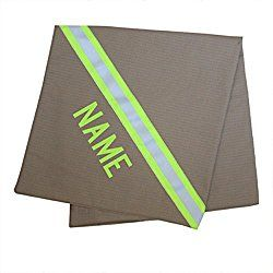 Personalized Firefighter Baby Blanket Looks Like Turnout Bunker Gear with Lime/Yellow Reflective (Tan)